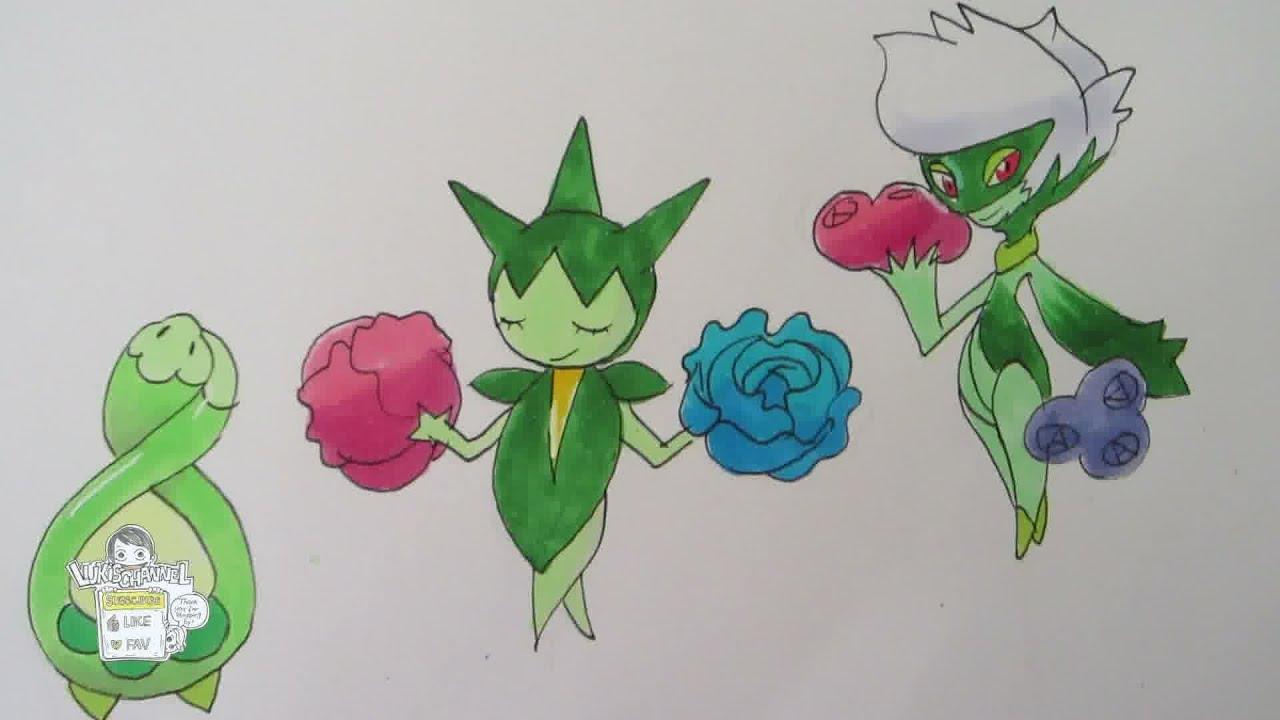 how to draw pokemon no 406 budew no 315 roselia no