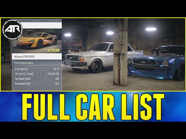 Need For Speed : FULL CAR LIST & PRICES!!! (Best Cars To ...