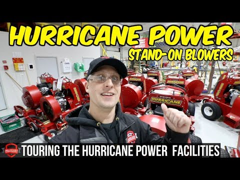 Touring The Hurricane Power Facilities! Stand On Blower + Sno-Power Back Blade Demo!