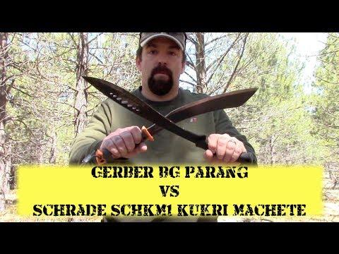 Gerber Bear Grylls Parang vs Schrade SCHKM1 Kukri Shoot Out