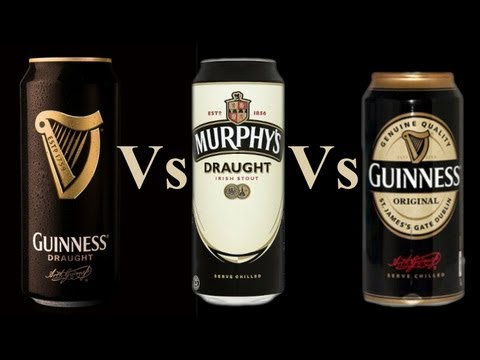 Comparing Guinness Draught In A Can 4.1%, Murphys Draught In A Can 4.0%, Guinness Original 4.2%