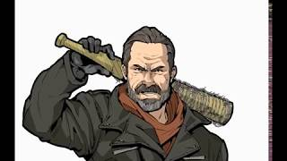 100mins NON STOP DRAWING - NEGAN OF WALKING DEAD