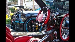 BEST Supercars Drive By - Pagani Huayra L'ULTIMO Pagani BC Bugatti - Exotic Car Collectors Weekend
