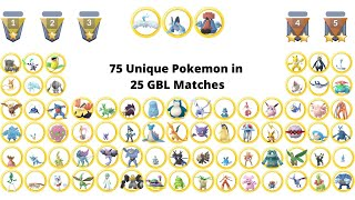 Using 75 Unique Great League Pokemon in 25 Go Battle League Matches
