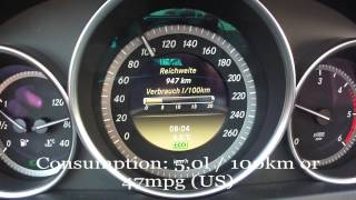 2012 Mercedes Benz C220 CDI Fuel Consumption Test
