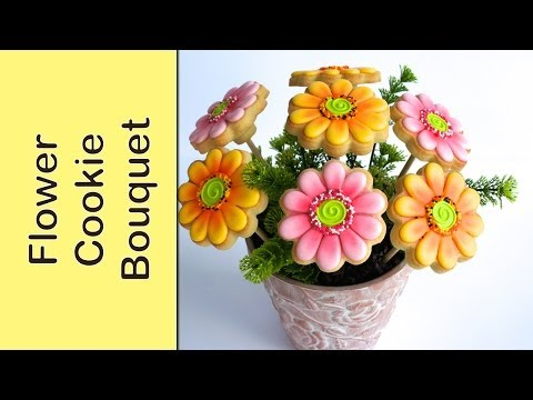 Cookie Bouquet - Gerbera Flower Cookies - How to make
