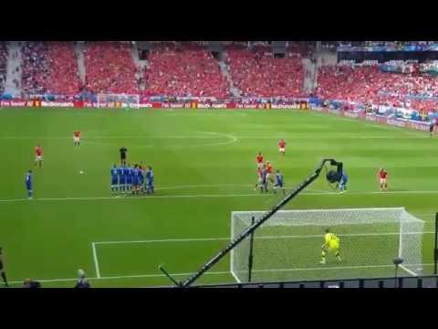 Gareth Bale AMAZING Freekick Goal Wales vs Slovakia Euro 11 06 2016