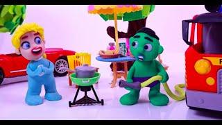 SUPERHERO BABY FIREMAN Play Doh Stop Motion and Cartoons For Kids 💕 Superhero Babies
