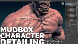 Professional CHARACTER DETAIL sculpting / pt3 Mudbox 2015 CHARACTER SCULPTING tutorial