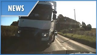 Lorry on wrong side of road causes near head-on collision