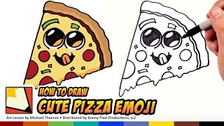 How to Draw Cute Food - Pizza Emoji - Draw Cartoon Pizza Step by Step for Beginners