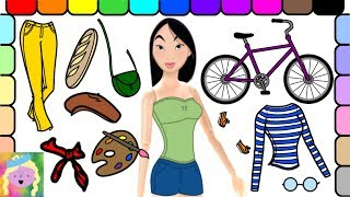 Dress Up Princess Mulan Barbie As A French Painter And Learn Names Of Colors And Clothes
