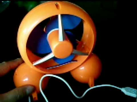 Funny Orange Desk Cool Fan with 4 Port USB Hub