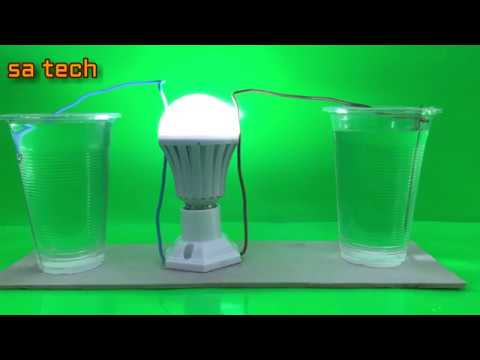 Free energy salt water with  light bulbs - Experiment  at home thumbnail
