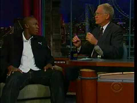 usain bolt on david letterman show Video