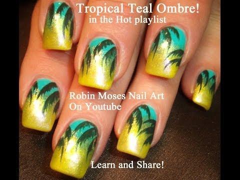 Easy Nail Art Tutorial   DIY Tropical Teal Ombre Design Ideas