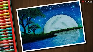 Beautiful Moonlight scenery drawing with Oil Pastels - step by step