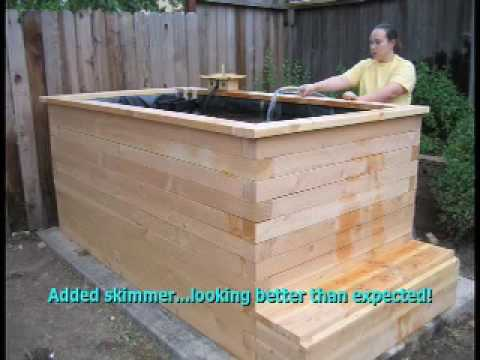 My wood koi pond youtube for Wooden koi pond construction