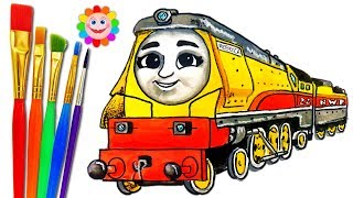 Thomas and Friends Big World Big Adventures REBECCA  HOW to DRAW TRAINS VIDEO for KIDS Coloring Page