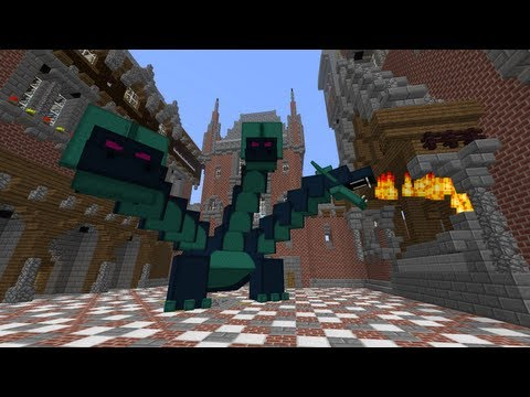 MineCraft 1.6 SnapShot 13w17a Castle Dragon Fights!