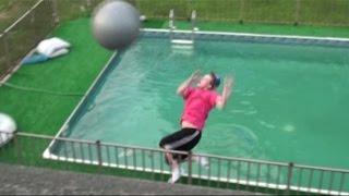 Exercise Ball into Pool Prank w/ Macho Man Elbow Drop