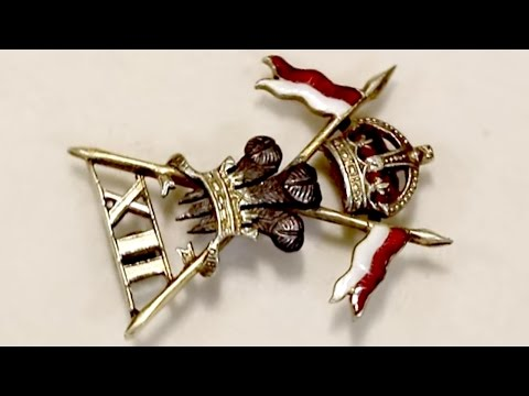 9 ct Yellow Gold and Enamel, 12th Royal Lancers Brooch - Antique Circa 1930 A4899