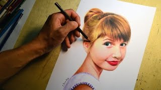How to draw a portrait of the girl by colored pencils. (Time-lapse drawing video)