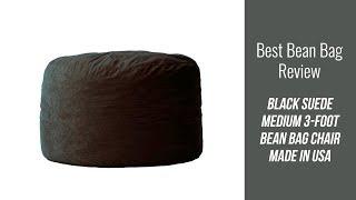 Bean Bag Review - Black Suede Medium 3-Foot Bean Bag Chair Made in USA