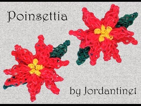 Poinsettia Flower Charm - Rainbow Loom or Monster Tail - Christmas Holiday Decoration