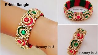 How to make Designer Bridal Bangle at Home | Silk Thread Bangle | Tutorial