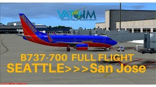 [FSX] Southwest 1225 | Seattle - San Jose | B737-700 | Full Flight | VATSIM