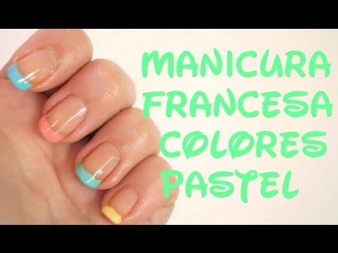 Manicura francesa colores pastel youtube - Manicura francesa colores ...