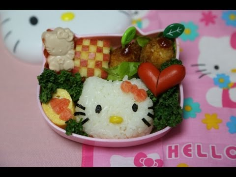 How to Make Hello Kitty Bento (#19 Hello Kitty Bento recipe) ハローキティちゃん弁当