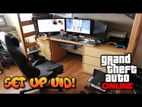 *NEW* Set-Up Video - College HUGE DESK Setup! (GTA 5 Online Battlestation)