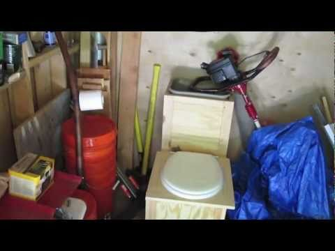 Off Grid Cabin - Composting sawdust toilet
