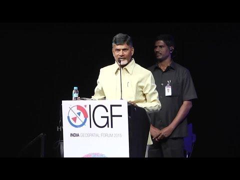 AP CM Chandrababu Naidu At India Geospatial Forum 2015 - Hybiz.tv