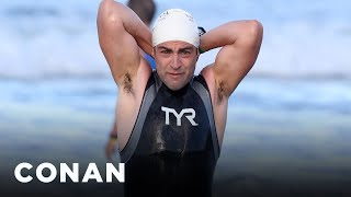 Max Greenfield's Triathlon Was Filled With Wardrobe Changes  - CONAN on TBS