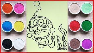 Đồ chơi trẻ em, TÔ MÀU TRANH CÁT MÈO DORAEMON LẶN BIỂN - Colors sand painting toys (Chim Xinh)