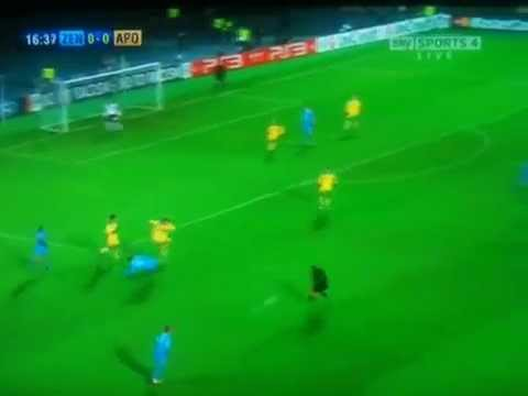 Referee Getting Hit With The Ball. Hilarious !     [ Zenit Vs Apoel - Champions League ]