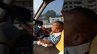 10 months baby driving a car