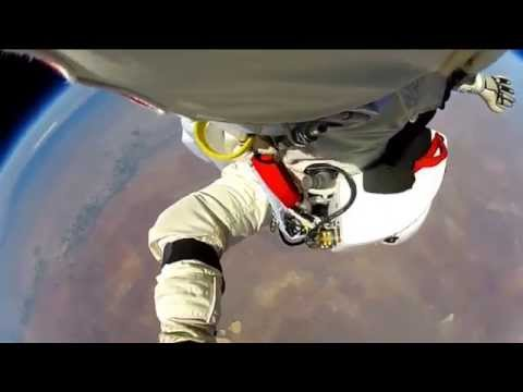 Felix Baumgartner - GoPro footage 128K ft space jump video by Red Bull