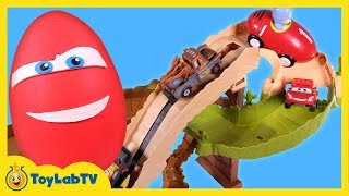Cars Radiator Springs 500 1/2 Off-Road Rally Race Track & Lightning McQueen Play Doh Surprise Egg