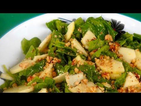 Receta para preparar ensalada de acelgas o berza, manzana y semillas de amapola