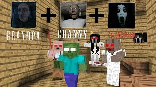 Monster School: Grandpa+Granny+Slendrina - Minecraft Animation