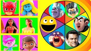 Spin The Wheel Game w/ Smurfette, Poppy, Belle, Moana, Owlette, Elena of Avalor VS Evil Villains!
