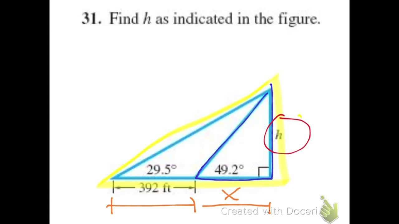 how to find inside angles of a right triangle