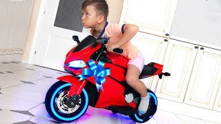 Funny Senya Ride on Sportbike Pocket bike Cross bike Unboxing Surprise toys for kids
