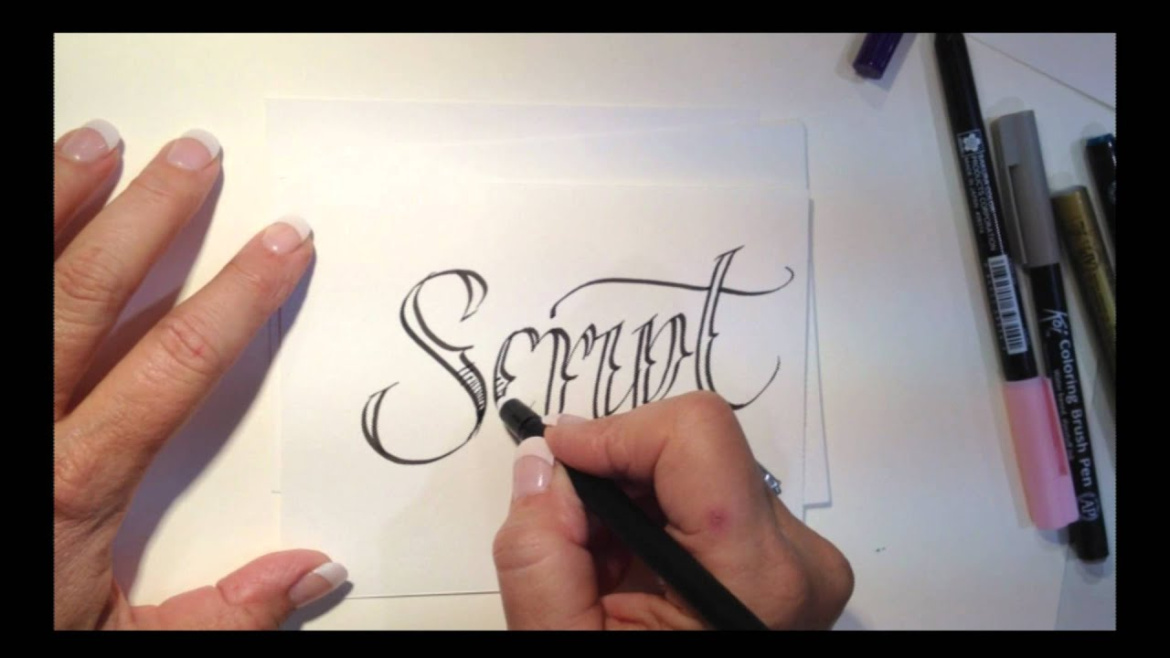 Tattoo Style Lettering with Lisa Engelbrecht - YouTube