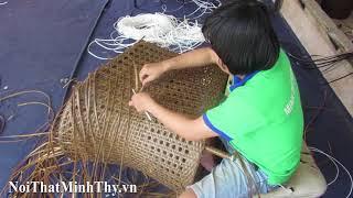Hướng dẫn đan ghế cafe nhựa giả mây MT2A157 với kiểu đan mắt cáo