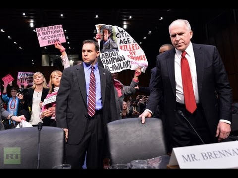 'Don't drone me, bro!' Protesters disrupt Brennan CIA chief approval hearing